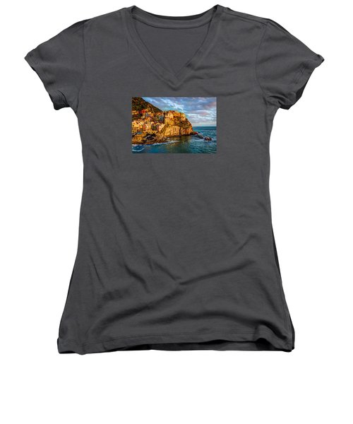 Sunset In Manarola Women's V-Neck T-Shirt (Junior Cut) by Wade Brooks