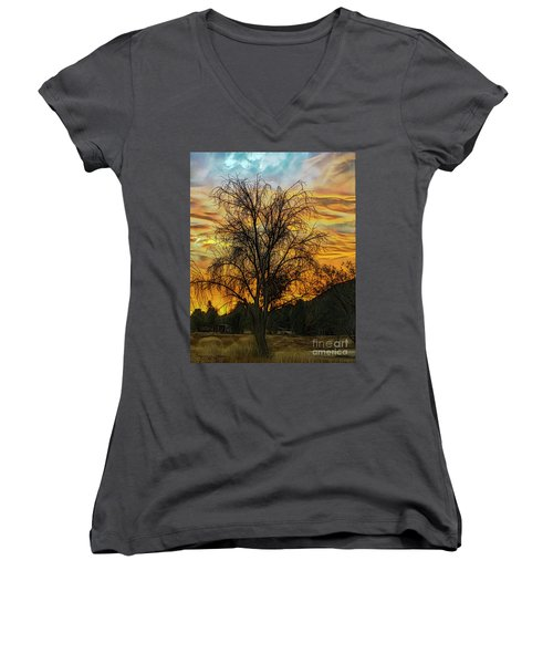 Sunset In Perris Women's V-Neck (Athletic Fit)