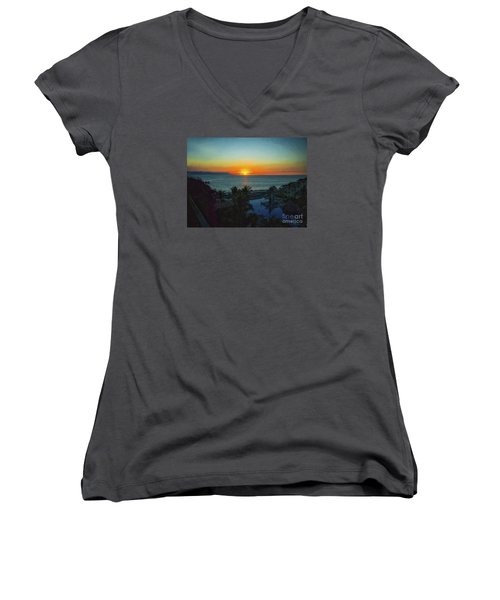 Sunset In Vallarta  ... Women's V-Neck T-Shirt (Junior Cut) by Chuck Caramella