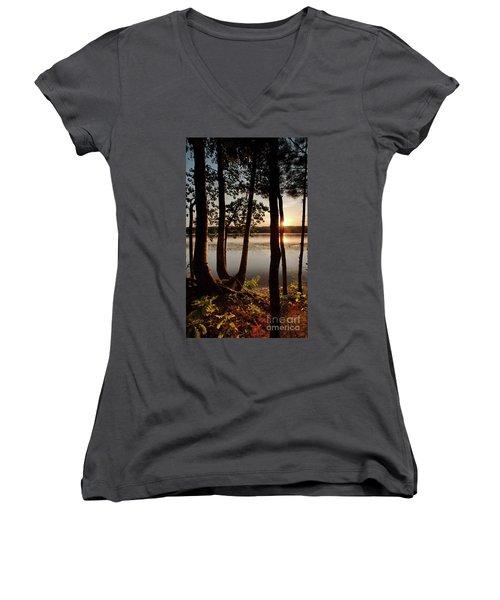 Sunset, Kennebec River, South Gardiner, Maine  -8364-8368 Women's V-Neck