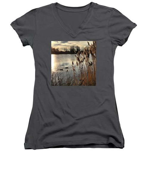 Sunset Lake  Women's V-Neck (Athletic Fit)