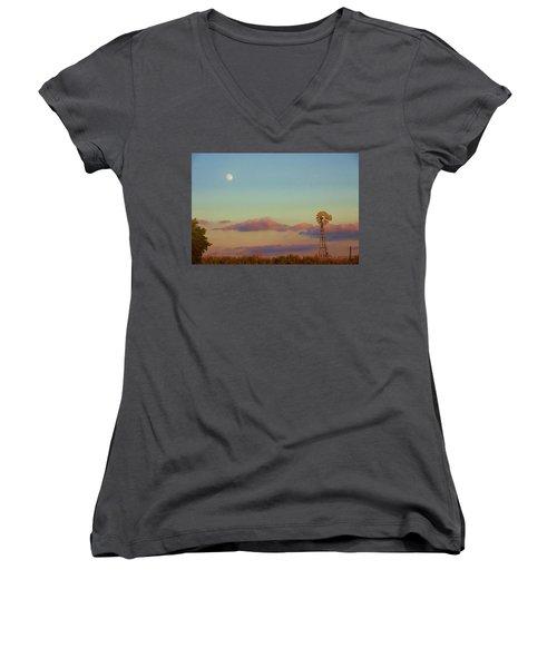 Sunset Moonrise With Windmill  Women's V-Neck