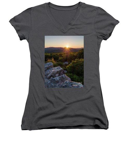 Women's V-Neck T-Shirt (Junior Cut) featuring the photograph Sunset, Mt. Battie, Camden, Maine 33788-33791 by John Bald