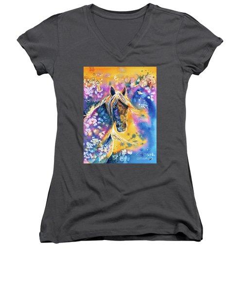 Women's V-Neck T-Shirt featuring the painting Sunset Mustang by Zaira Dzhaubaeva
