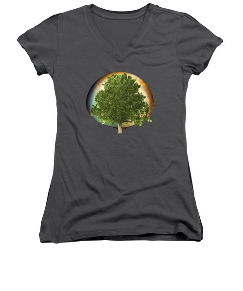 Women's V-Neck T-Shirt (Junior Cut) featuring the digital art Sunset Oak Tree Cartoon by Linda Phelps