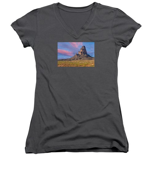 Sunset On Agathla Peak Women's V-Neck T-Shirt (Junior Cut) by Jeff Goulden
