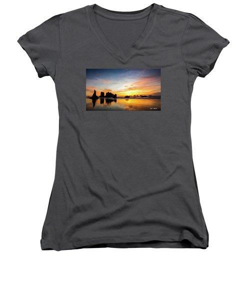 Sunset On Bandon Women's V-Neck T-Shirt