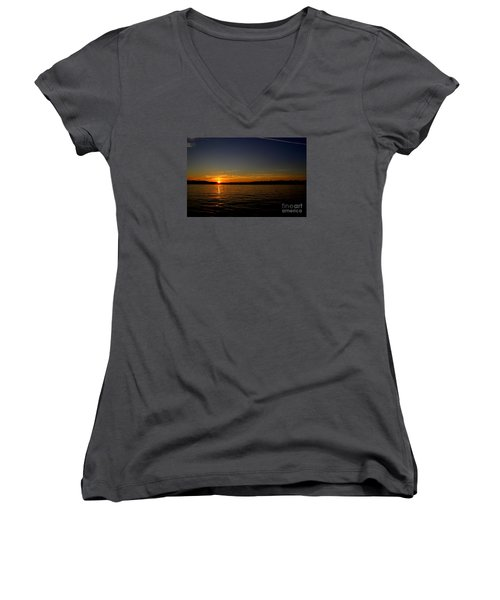 Sunset  On Cape  Ann Women's V-Neck (Athletic Fit)