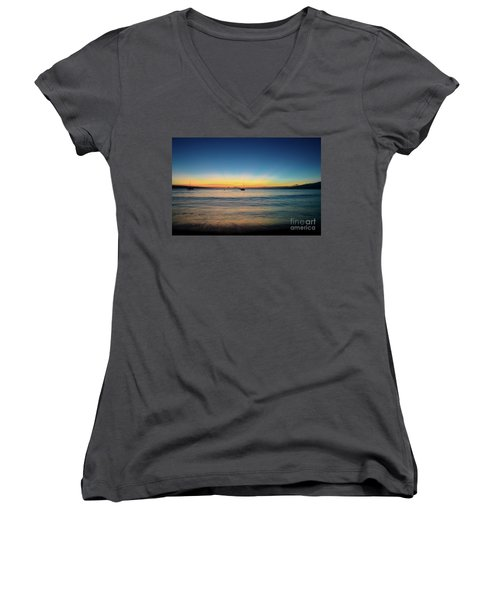 Sunset On Ka'anapali Beach Women's V-Neck T-Shirt (Junior Cut) by Kelly Wade