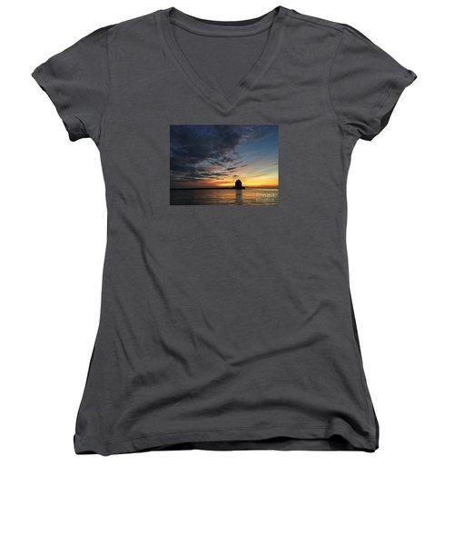 Sunset On Lorain Lighthouse Women's V-Neck (Athletic Fit)