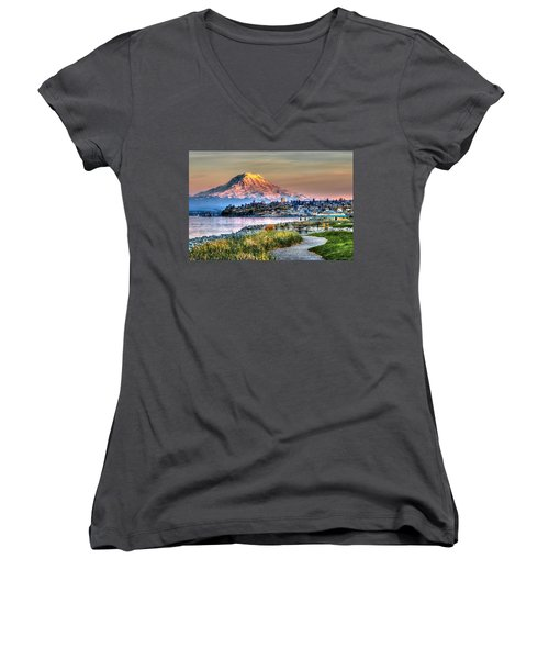 Sunset On Mt Rainier And Point Ruston Women's V-Neck T-Shirt (Junior Cut) by Rob Green
