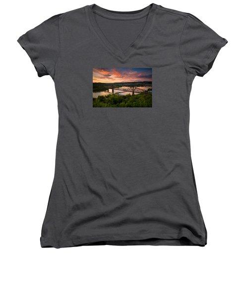Sunset On Ohio River  Women's V-Neck