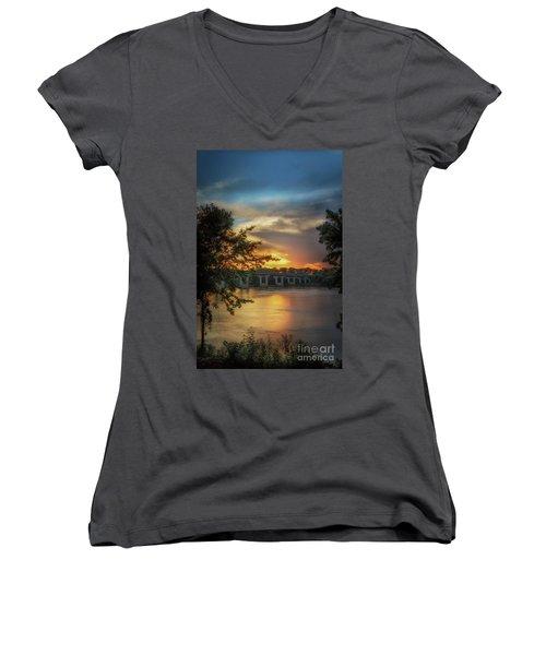 Sunset On The Arkansas Women's V-Neck T-Shirt