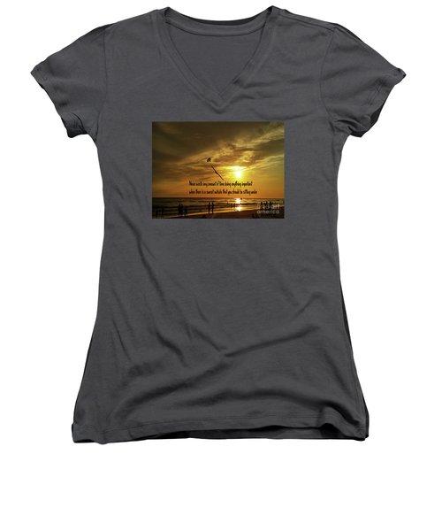 Sunset On The Beach Women's V-Neck T-Shirt (Junior Cut) by Gary Wonning