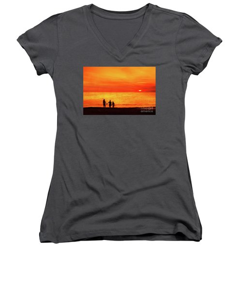 Sunset On The Beach Women's V-Neck T-Shirt (Junior Cut) by Randy Steele