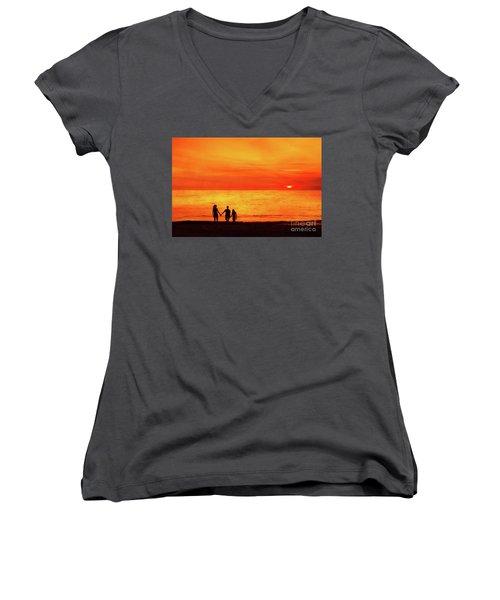 Sunset On The Beach Women's V-Neck T-Shirt