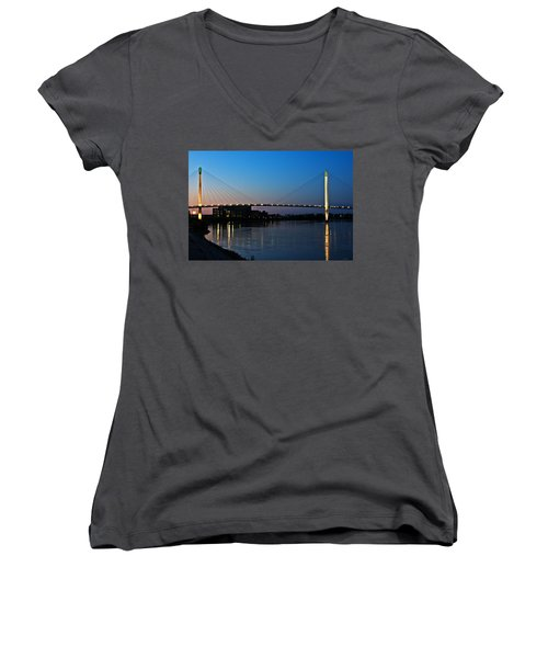 Sunset On The Bob Kerry Pedestrian Bridge Women's V-Neck (Athletic Fit)