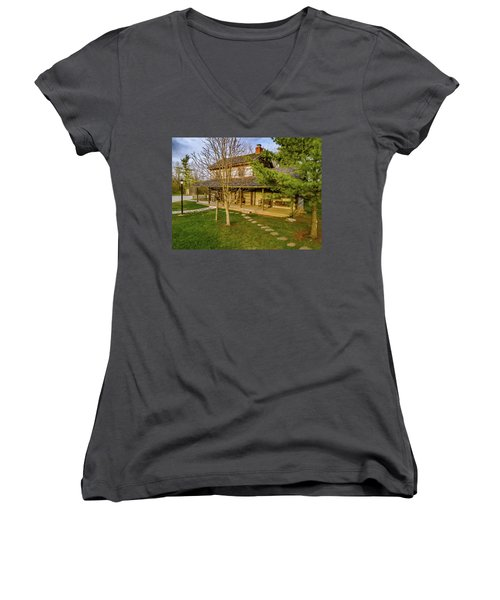 Sunset On The Cabin Women's V-Neck (Athletic Fit)