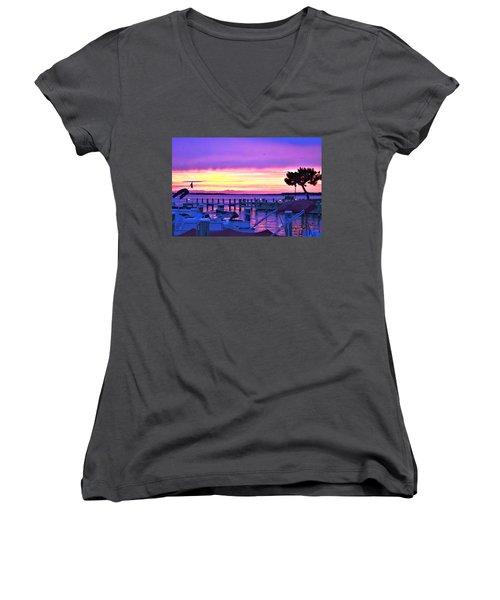 Sunset On The Docks Women's V-Neck