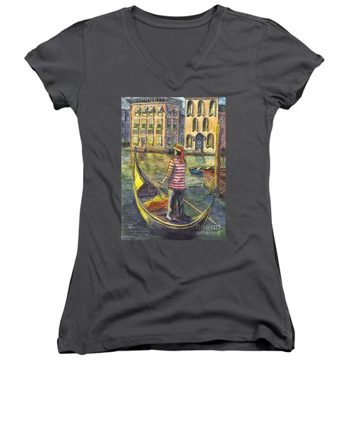 Sunset On Venice - The Gondolier Women's V-Neck T-Shirt (Junior Cut) by Carol Wisniewski