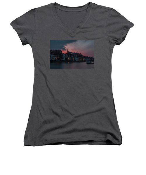 Sunset Over Bamberg Women's V-Neck T-Shirt (Junior Cut) by Photo Escape