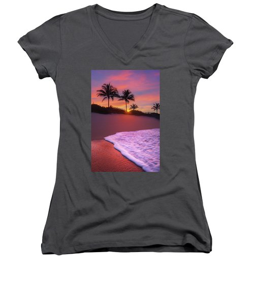 Women's V-Neck T-Shirt (Junior Cut) featuring the photograph Sunset Over Coral Cove Park In Jupiter, Florida by Justin Kelefas