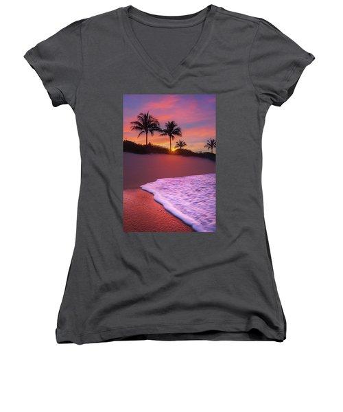 Sunset Over Coral Cove Park In Jupiter, Florida Women's V-Neck T-Shirt (Junior Cut) by Justin Kelefas