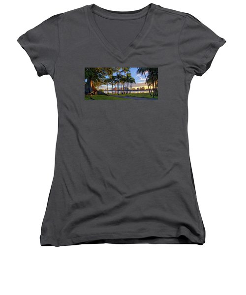 Sunset Over Downtown West Palm Beach From Palm Beach Island Women's V-Neck T-Shirt (Junior Cut) by Justin Kelefas
