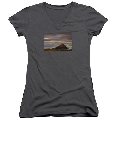 Women's V-Neck T-Shirt (Junior Cut) featuring the photograph Sunset Over Factory Butte by Keith Kapple