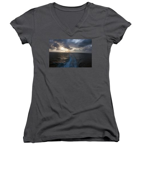 Sunset Over Fort Lauderdale Women's V-Neck T-Shirt (Junior Cut) by Allen Carroll