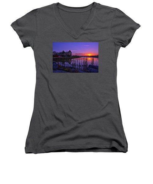 Sunset Over Hungryland Wildlife Management Area Women's V-Neck T-Shirt (Junior Cut) by Justin Kelefas