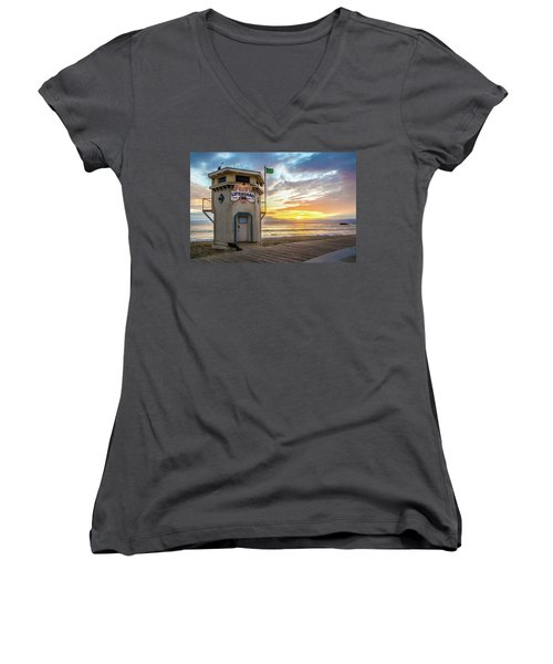 Sunset Over Laguna Beach Lifeguard Station Women's V-Neck
