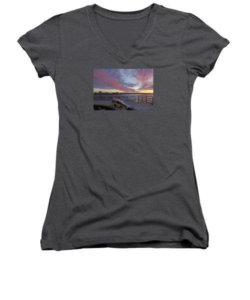 Women's V-Neck T-Shirt (Junior Cut) featuring the photograph Sunset Over Manasquan Inlet 3 by Melinda Saminski