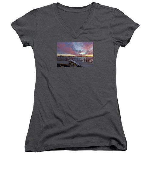 Sunset Over Manasquan Inlet 3 Women's V-Neck (Athletic Fit)