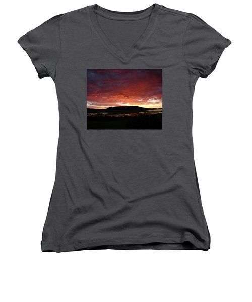 Women's V-Neck T-Shirt (Junior Cut) featuring the painting Sunset Over Mormon Lake by Dennis Ciscel