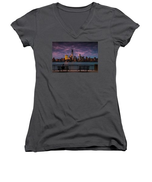 Women's V-Neck T-Shirt (Junior Cut) featuring the photograph Sunset Over New World Trade Center New York City by Ranjay Mitra