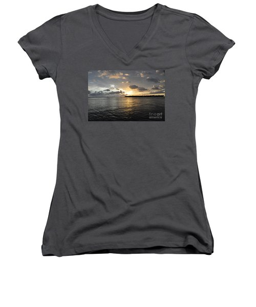 Sunset Over Sunset Key Women's V-Neck T-Shirt (Junior Cut) by John Black