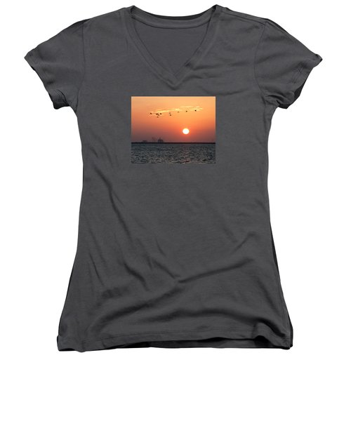 Sunset Over The Bay Women's V-Neck (Athletic Fit)