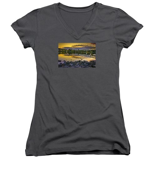 Sunset Over The Bridge Women's V-Neck