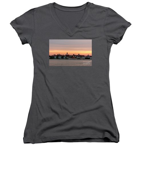 Sunset Over The Grand Floridian Women's V-Neck T-Shirt