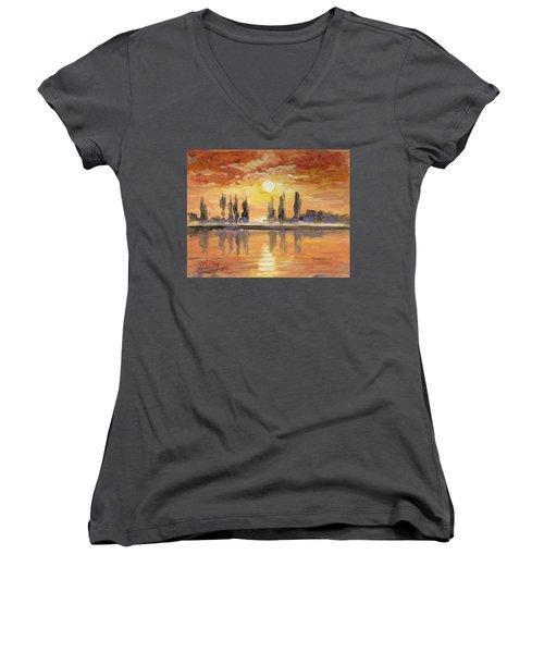 Sunset Over The Lake Women's V-Neck T-Shirt