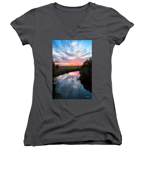 Sunset Over The Marsh Women's V-Neck