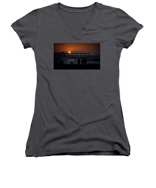 Sunset Over The Pier Women's V-Neck (Athletic Fit)