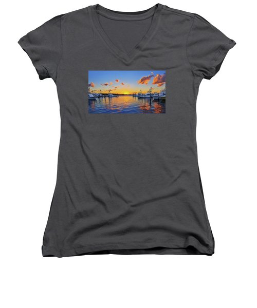 Sunset Over The Sailfish Marina In Riviera Beach Florida Women's V-Neck