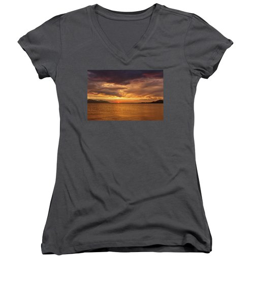 Sunset Over The Sea, Opuzen, Croatia Women's V-Neck T-Shirt
