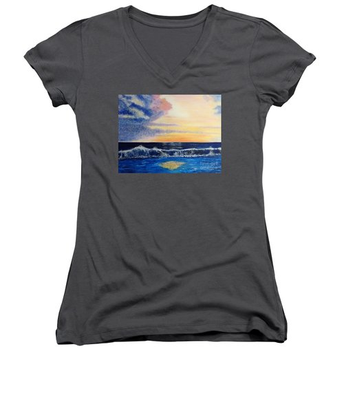 Sunset Over The Sea Women's V-Neck (Athletic Fit)