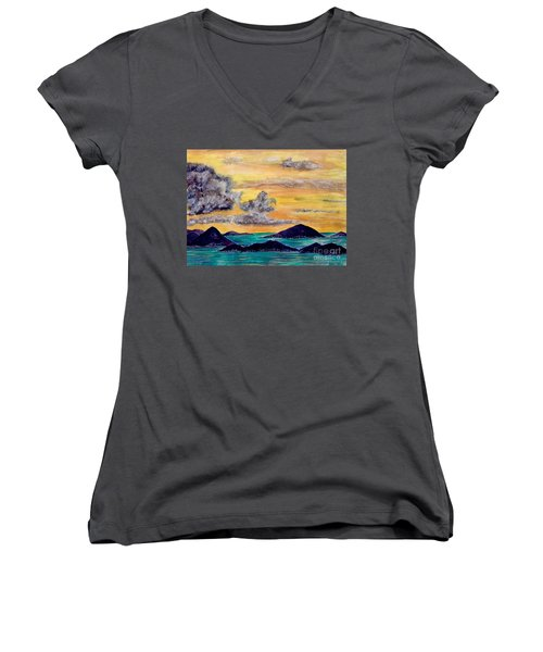 Sunset Over The Virgin Islands Women's V-Neck (Athletic Fit)