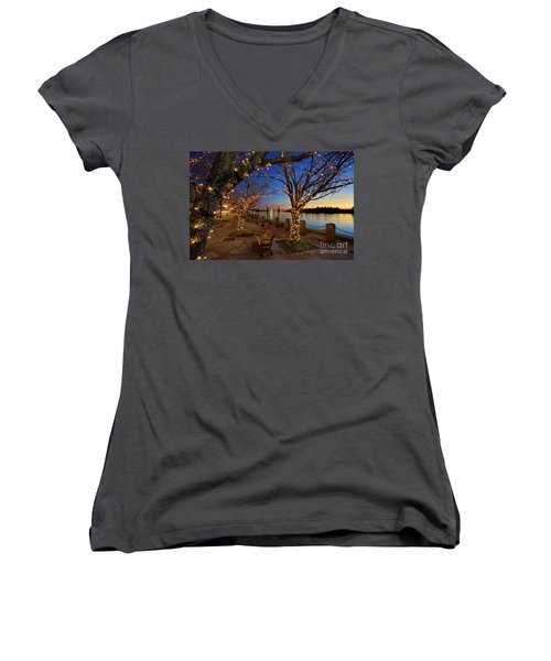 Sunset Over The Wilmington Waterfront In North Carolina, Usa Women's V-Neck T-Shirt (Junior Cut) by Sam Antonio Photography