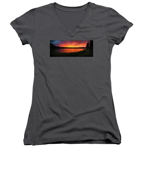 Sunset Panorama Women's V-Neck T-Shirt (Junior Cut) by Teemu Tretjakov