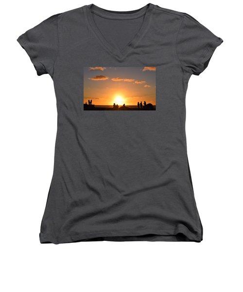 Sunset People In Imperial Beach Women's V-Neck T-Shirt (Junior Cut) by Karen J Shine